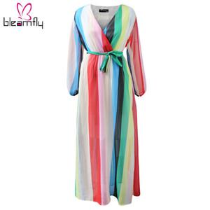 Лето Sexy V-образным вырезом шифон Dress женщины элегантный Boho Maxi Robe Longue Femme платья чешский пляж полосатый печатных Vestido 5xl