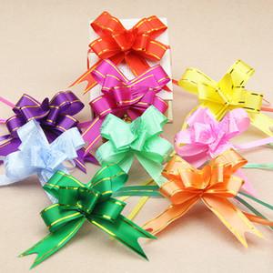10 unids 1.8 * 35 cm Tire Arcos Cintas Flor envoltura de regalos diseño de la boda Decoración del banquete de boda Pullbows multi color opción navidad decro
