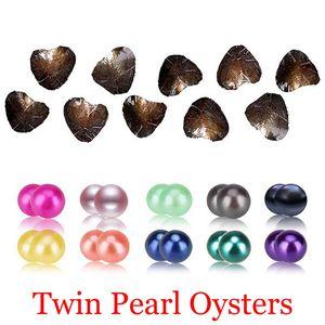 2018 bricolaje de agua dulce gemelos de perlas en las ostras 25 colores Perlas Perlas Oyster con joyería de lujo envasado al vacío del regalo de cumpleaños para las mujeres