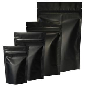 Hohe Qualität 100pcs Heat Seal Zip Verschluss Paket Taschen Aluminiumfolie Mylar Aufreißkerbe Matte Black Up Bag Großhandelsstandplatz