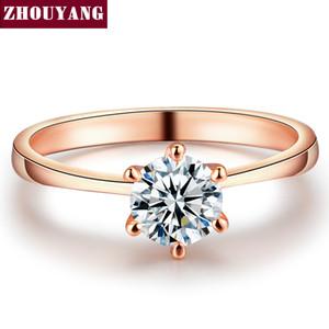 ZYR014 Real Rose Gold Cor Seis Garra Cubic Zirconia Corte Redondo 1 6mm Anel de Casamento Cristais Austríacos Atacado Para As Mulheres