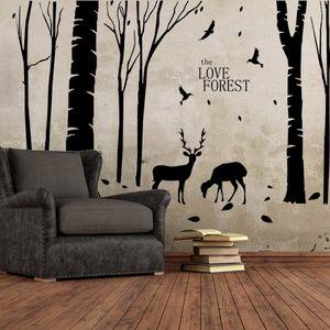 P0001 Home Decoration Vinyl Deers in Forest Wall Sticker Rimovibile economici PVC Casa Decor alberi e animali decalcomanie