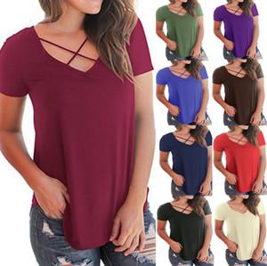 Moda kadınlar casual geri çiçek baskı T-shirt kısa kollu criss çapraz V Yaka bluz tees tops yüksek kalite