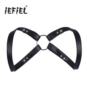 iEFiEL  Fashion Sexy Men Lingerie Faux Leather Adjustable Body Chest Harness Bondage Costume with Press Buttons