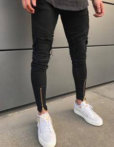 Hommes Pieds Pantalon Zip Noir Jean Skinny Hommes Designer Jean Déchiré Jeans Casual Coton Stretch Jean Mâle Slim Fit High Street pour Hommes