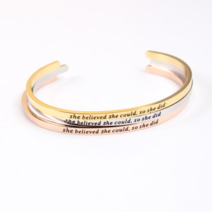 whole saleStainless Steel Engraved Bangle she believed she could so did Positive Inspirational Quote Hand Stamped Cuff Mantra Bracelet