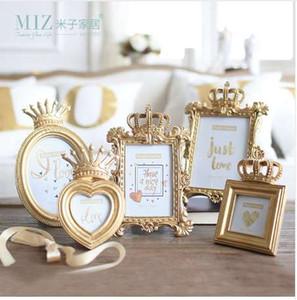 Миз дома 1 шт. 5 Модель роскошный стиль барокко Золотой Короны декор творческий смолы фото рамка для рабочего стола фоторамка подарок для друга