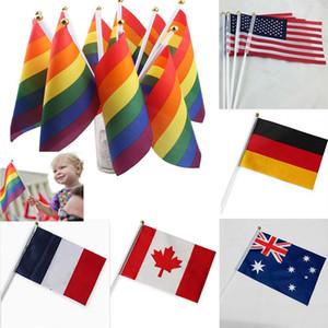 14 * 21 سنتيمتر rainbow flags 12 تصميم العلم الوطني للعالم البوليستر ناحية التلويح الأعلام لافتات منزل الديكور HH7-1168