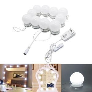 LED Estilo Hollywood Vanity Luzes do Espelho Kit Maquiagem penteadeira vaidade Set Lighted Espelhos com Dimmer and Plug 10 lâmpadas