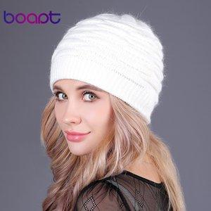 [Boapt] weiche Kaninchen Doppel stricken dicke Mütze Beanie Caps feste warme Winter Hüte für Frauen Kappe Skullies Mützen weibliche Hut Y18102210
