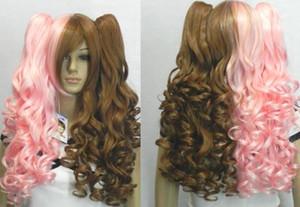 New Brown Mix Rose Clip sur 2 Ponytails Curly Cosplay Femmes perruque de cheveux perruques + Cap