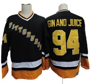 Vintage Pittsburgh 94 Gin et Juice Hockey Jerseys Hommes Mens Snoop Dogg Musique Vidéo Gin et Juice Noir Jersey cousu S-XXXL