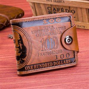 New Design Mode-Dollar-Muster-Kartenhalter-Männer Geldbörsen Geld Clutch Tasche Wallet Mode kurze PU-Leder-Mann-Geldbeutel
