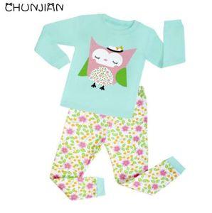Kızlar baykuş pijama çocuk pamuk giyim setleri çocuklar için uzun kollu pijama kıyafeti bebek yeni pijamas 2-8 yıl