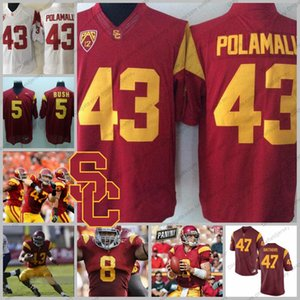 USC Trojans # 43 Трой Поламалу 3 Карсон Палмер 5 Реджи Буш 8 Ник Перри 47 Клей Мэтьюз NCAA Колледж Футбольные майки S-3XL