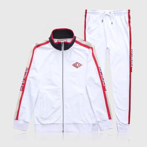 Conjunto branco de Luxo Dos Homens Treino Homens Jaquetas Designer Terno + Calças Casaco Com Zíper Preto Branco Cinza High Street Listrado Kits