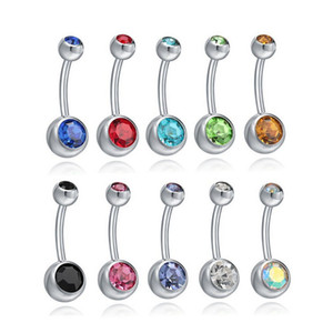 Piercing no umbigo aço cirúrgico Individual Rhinestone Belly Button Rings piercing no umbigo Piercings Ombligo Nose Studs percing Body Jewelry