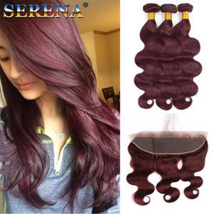 # 99J Wine Red malasio Body Wave paquete de cabello humano ofertas 3pcs con frontales 4pcs lote Borgoña 13x4 encaje completo frontal con tejido