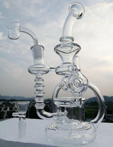 New glass bongs recycler water pipe with quartz nail dab hookah bubber Two function free shipping