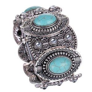 New Mic Antiqued Silber überzogene Oval Türkis Stein Crystal Bohemia Stretch Armband Flex Armband für Frauen Männer Geschenke