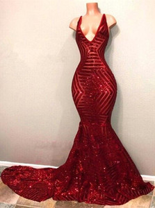 Red Blingbling Paillettes Prom Dresses 2020 senza maniche Mermaid immerge con scollo a V Black Girl Prom Dresses sera del partito di abiti BA7779