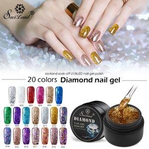 Saviland Nail Gel Shimmer Glitter Diamond UV Hybrid Gel Varnish Polish Shine Platinum Building Lacquer