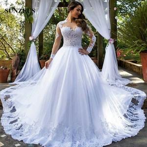 Apliques blusa ilusión Vestidos de novia Sexy manga larga vestido de boda hermoso de las mujeres con el cordón blanco largo de tul de novia matrimonio vestito