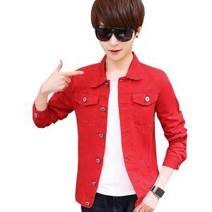Primavera Otoño Cardigan Uniforme de béisbol para hombre Chaqueta de mezclilla coreana Mens Slim Youth Leisure Coat Thin Tide Clothing