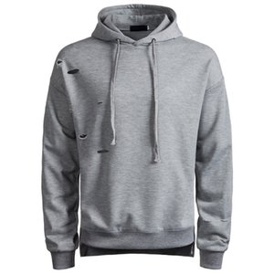 MIXCUBIC 2018 Autumn College style ripped hole Hedging hooded weatshirts men casual slim Scratched sweatshirts men size S-2XL
