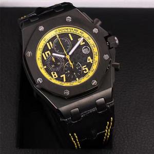 La meilleure qualité Montre Marque Royale de 42mm Chronographe Homme en acier inoxydable OS Quartz Mouvement Sport Hommes Montres bracelet