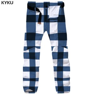 оптовые Lattice штанах Мужчины Графика Tactical Pants Joggers Синий 3d печати Брюки Багги Ретро мужские брюки Комбинезоны Streetwear