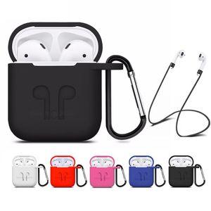La más nueva cubierta suave del silicón para Apple Airpods la bolsa impermeable de la manga de la caja del protector a prueba de agua para el auricular de las cápsulas del aire con el gancho