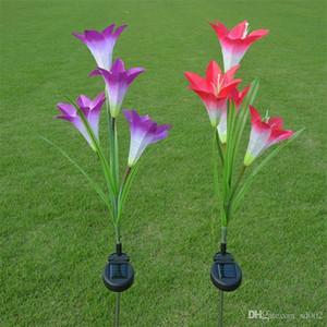 Solar Energy Lily Festive Lamp 4 Head Simulation Garden Courtyard Lampade da prato Coloratissimo LED decorativo Piccolo Easy Carry 22wn Y