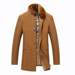 Men's Winter Warm Jacket Woolen Coat 2018 New Fashion Overcoat Fur Collar Wool Coat Windbreaker Jacket Men's Thicken Trench