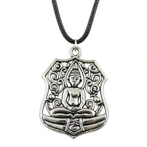 WYSIWYG 5 Pieces Leather Chain Necklaces Pendants Choker Collar Vintage Necklace Handmade Buddha Statue 46x33mm N6-B10529