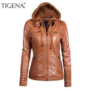 TIGENA Plus Size 6XL 7XL Giacca in pelle primavera Donna 2018 Giacca da moto in pelle sintetica PU con cappuccio donna Cappotto Abbigliamento femminile