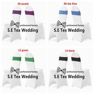 50pcs 화이트 연회 의자 커버 결혼식 및 50pcs Strech 라이크라 스 판 덱 스의 자 Band \ Chair Sash 무료 배송