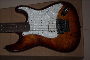 Frete grátis China Personalizado Guitarra Burl padrão satinwood natural corpo guitarra elétrica Floyd subiu tremolo ST Guitarra Elétrica 1117