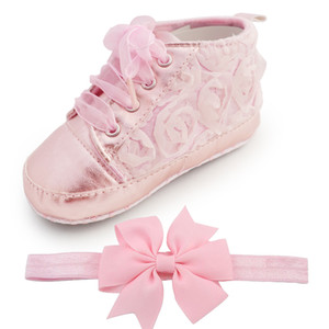 Baby Kids Bambino Sapato Infant Rose Flower Soft Sole Girl First Walker Handmade Baby Designers Scarpe stile all'ingrosso