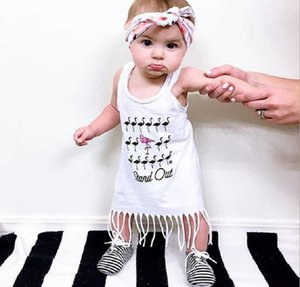 Ins Summer Baby Girls 긴 티셔츠 Flamingo Letters 프린트 시크릿 조끼 탑 Tassels Tshirt Dresseen Childen Cotton T-shirt 4076