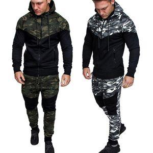 Xlvma uomo Designer camuffamento Panelled Tute Army Mens Spedizione jogging Green Slim con cappuccio Grigio Tuta di modo libero 2pcs