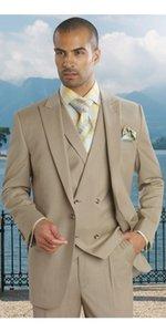 Diseño personalizado Novios Esmoquin Peaked Lapel One Button Khaki Traje de negocios de los hombres Hombres Fiesta Padrinos de boda Trajes (Chaqueta + Pantalones + Corbata + Chaleco) NO; 276