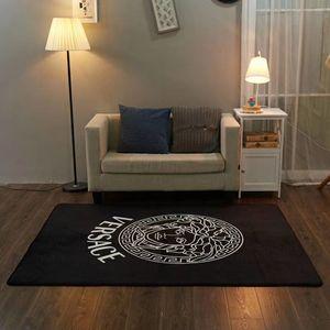 Luxo Nordic Deusa Tapete Preto Brand Design Boutique Wood Floor Mat Família antiderrapante sofá macio Mat Yoga