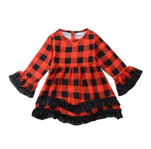 Kid Babys Девушка одевает платье Рождество красный плед Пачка платье малышей Детская принцесса длинным рукавом Пледы партии Pageant платья детской одежды