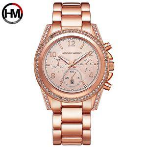 Hannah Martin Rhinestone Ladies Quartz Watch  Wristwatch For Women Fashion Watches With Calendar Waterproof Jewelry