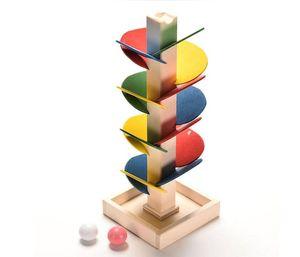 새로운 나무 나무 대리석 공 실행 트랙 게임 아기 몬테소리 블록 어린이 지능 교육 모델 빌딩 장난감
