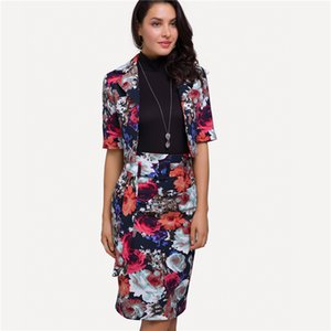 2018 Women Suit Set Elegent Office Lady 2 Piece Set Plus Size Floral Half Sleeve Short Jacket Coat and Pencil Skirt Sets Talever