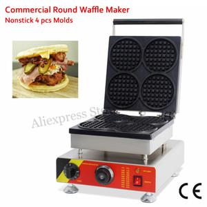 4 Kalıpları Yuvarlak-şekilli Waffle makinesi Ticari Kek Burger Makinesi 110 V 220 V 1500 W Aperatif Sokak CE Yepyeni