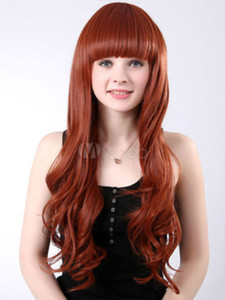 Classic Light Brown Synthetic Wavy Long Wig Hair New Cosplay Wig