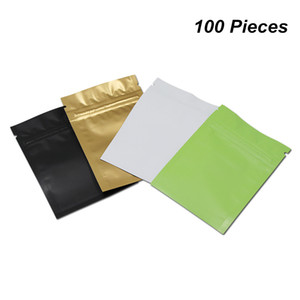 Multi-Size Matte Resealable Mylar Foil Aluminum Zipper Packaging Bags Closure Aluminum Foil Food Storage Pouch Foil Baggies for Coffee Tea